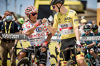 polka dot jersey / KOM leader Nairo Quintana (COL/Arkea Samsic) & yellow jersey / GC leader Tadej Pogacar (SVN/UAE-Emirates) at the stage start in Carcassonne<br /> <br /> Stage 14 from Carcassonne to Quillan (184km)<br /> 108th Tour de France 2021 (2.UWT)<br /> <br /> ©kramon