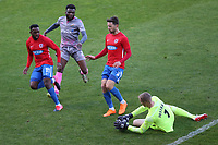 Elliot Justham of Dagenham and Redbridge denies Michee Efete of Wealdstone during Dagenham & Redbridge vs Wealdstone, Vanarama National League Football at the Chigwell Construction Stadium on 10th October 2020