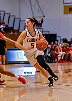 19 February 2020: University of Vermont Catamount Guard Josie Larkins, a Junior from Lincroft, NJ, in second-half action against the Stony Brook Seawolves at Patrick Gymnasium in Burlington, Vermont. The Lady Seawolves edged out the Lady Catamounts 72-68 in America East Women's Basketball. Mandatory Credit: Ed Wolfstein Photo *** RAW (NEF) Image File Available ***