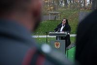 """Auf dem Gelaende des Einsatzfuehrungskommando der Bundeswehr, der Henning-von-Tresckow-Kaserne bei Potsdam, wurde am Samstag den 15. November 2014 ein Ehrenhain zum Gedenken an die im Einsatz verstorbenen Bundeswehrangehoerigen eingeweiht. Zu der Einweihung kamen 700 Gaeste, davon waren 190 Angehoerige Verstorbener.<br /> In dem """"Wald der Erinnerungen"""" sind die Gedenkhaine aus den Einsatzgebieten der Bundeswehr errichtet worden. Zum Teil originalgetreu nachgebildet von den Orten in denen die Bundeswehr eingesetzt war und Angehoerige verstorben sind.<br /> Im Bild: Tanja Lenz, Mutter des am 2. April 2011 in Afghanistan verstorbenen Soldaten Konstantin Menz.<br /> 15.11.2014, Potsdam<br /> Copyright: Christian-Ditsch.de<br /> [Inhaltsveraendernde Manipulation des Fotos nur nach ausdruecklicher Genehmigung des Fotografen. Vereinbarungen ueber Abtretung von Persoenlichkeitsrechten/Model Release der abgebildeten Person/Personen liegen nicht vor. NO MODEL RELEASE! Don't publish without copyright Christian-Ditsch.de, Veroeffentlichung nur mit Fotografennennung, sowie gegen Honorar, MwSt. und Beleg. Konto: I N G - D i B a, IBAN DE58500105175400192269, BIC INGDDEFFXXX, Kontakt: post@christian-ditsch.de<br /> Urhebervermerk wird gemaess Paragraph 13 UHG verlangt.]"""