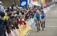 Sven Nys (BEL) followed closely by Zdenek Stybar (CZE) with the last lap to go<br /> <br /> 2014 UCI cyclo-cross World Championships, EliteMen