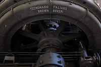 Details of the diesel engines. Hall of the Machines. Centrale Montemartini. Rome, Italy. Mar. 07, 2015