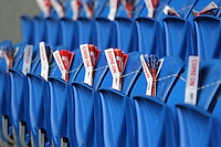 CARDIFF, WALES - SEPTEMBER 05: Come on Wales fans are left ready on the seats of the stadium during the Wales training session, ahead of the UEFA Euro 2016 qualifier against Israel, at the Cardiff City Stadium on September 5, 2015 in Cardiff, Wales.
