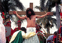 Jesus on Cross in Easter Procession in Costa Rica. Christ on Cross. Santa Barbara, Costa Rica.