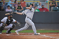 Beloit Snappers Trent Gilbert (3) swings during the Midwest League game against the Clinton LumberKings at Ashford University Field on June 11, 2016 in Clinton, Iowa.  The LumberKings won 7-6.  (Dennis Hubbard/Four Seam Images)