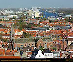 Heilig-Hartkerk Sacred Heart Church and Docks, North View from atop the Belfort Bell Tower, Bruges, Brugge, Belgium