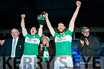 Damien O'Sullivan and Padraig Lucey Legion lift the cup after winning the O'Donoghue cup final after defeating Dr Crokes at Fitzgerald Stadium on Sunday.