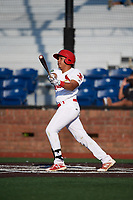 Johnson City Cardinals second baseman Donivan Williams (3) follows through on a swing during a game against the Danville Braves on July 29, 2018 at TVA Credit Union Ballpark in Johnson City, Tennessee.  Johnson City defeated Danville 8-1.  (Mike Janes/Four Seam Images)