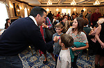 Gov. Brian Sandoval greets Alexander, Madeline and Jack Bennett, of Reno, at the Republican Women's Club Pancake Breakfast at the Governor's Mansion, in Carson City, Nev. on Saturday, Oct. 27, 2012. The breakfast, in it's 20th year, is a Nevada Day tradition for hundreds of locals..Photo by Cathleen Allison
