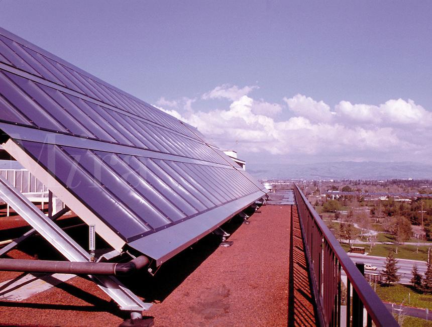 Solar collectors, panels, natural energy source, technology. San Jose California, Kaiser hospital.