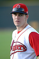 1B Drew Hedman (50th round draft pick)of the Lowell Spinners, the short season New York-Penn. League affiliate of the Boston Red Sox, at Edward LeLacheur Park in Lowell, MA on June 19, 2009 (Photo by Ken Babbitt/Four Seam Images)