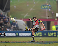20130309 Copyright onEdition 2013©.Free for editorial use image, please credit: onEdition..Ben Botica of Harlequins takes a kick during the LV= Cup semi final match between Harlequins and Bath Rugby at The Twickenham Stoop on Saturday 9th March 2013 (Photo by Rob Munro)..For press contacts contact: Sam Feasey at brandRapport on M: +44 (0)7717 757114 E: SFeasey@brand-rapport.com..If you require a higher resolution image or you have any other onEdition photographic enquiries, please contact onEdition on 0845 900 2 900 or email info@onEdition.com.This image is copyright onEdition 2013©..This image has been supplied by onEdition and must be credited onEdition. The author is asserting his full Moral rights in relation to the publication of this image. Rights for onward transmission of any image or file is not granted or implied. Changing or deleting Copyright information is illegal as specified in the Copyright, Design and Patents Act 1988. If you are in any way unsure of your right to publish this image please contact onEdition on 0845 900 2 900 or email info@onEdition.com