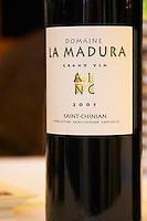 Domaine la Madura Grand Vin St Chinian. Languedoc. France. Europe. Bottle.