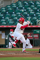 Palm Beach Cardinals Carlos Soto (35) bats during a game against the Daytona Tortugas on May 4, 2021 at Roger Dean Chevrolet Stadium in Jupiter, Florida.  (Mike Janes/Four Seam Images)