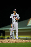 Tri-City ValleyCats relief pitcher Jesus Balaguer (43) looks in for the sign during a game against the Batavia Muckdogs on July 14, 2017 at Dwyer Stadium in Batavia, New York.  Batavia defeated Tri-City 8-4.  (Mike Janes/Four Seam Images)