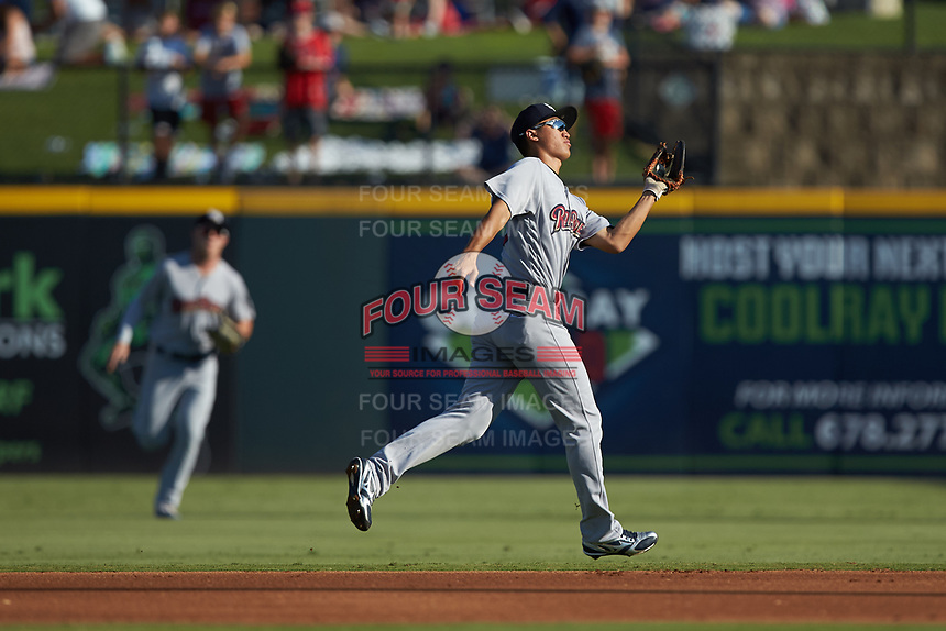 Scranton/Wilkes-Barre RailRiders second baseman Gosuke Katoh (50) catches a pop fly during the game against the Gwinnett Stripers at Coolray Field on August 17, 2019 in Lawrenceville, Georgia. The Stripers defeated the RailRiders 8-7 in eleven innings. (Brian Westerholt/Four Seam Images)