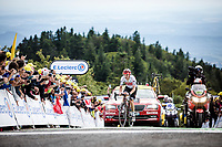 Giulio Ciccone (ITA/Trek Segafredo) finishing 2nd 11 seconds behind stage winner Dylan Teuns but moved into the Yellow Jersey. <br /> <br /> Stage 6: Mulhouse to La Planche des Belles Filles (157km)<br /> 106th Tour de France 2019 (2.UWT)<br /> <br /> ©kramon