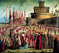 The Pilgrims are met by Pope Cyriacus in front of the Walls of Rome (The Legend of Saint Ursula)<br /> Artist:Carpaccio, Vittore(1460-1526)<br /> Museum:Gallerie dell'Accademia, Venice<br /> Method:Oil on canvas<br /> Created:1497<br /> School:Italy, Venetian School<br /> Category:Bible<br /> Mythology, Allegory and Literature<br /> Trend in art:Renaissance