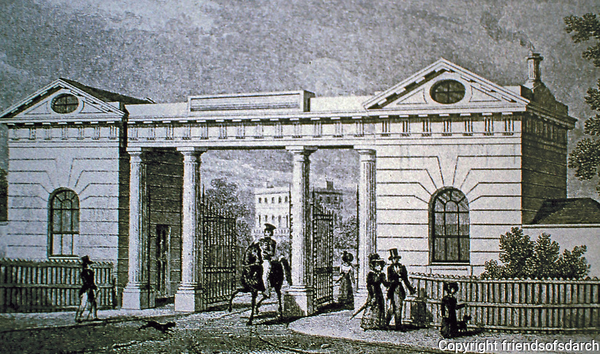 Gloucester Gate, Regents Park, London. Designed by John Nash, 1825-26. Historical print.