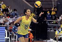 BARRANCABERMEJA - COLOMBIA, 19-09-2021: Colombia (COL) y Brasil (BRA) en partido como parte del XXXIV Campeonato Sudamericano de Voleibol Femenino 2021 en el coliseo Luis F Castellanos de Barrancabermeja, Colombia. / Colombia (COL) and Brazil (BRA) in a match as part of XXXIV South American Women's Volleyball Championship 2021 at the Luis F Castellanos Coliseum in Barrancabermeja, Colombia .  Photo: VizzorImage / Nelson Rios / Cont