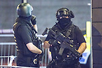 © Joel Goodman - 07973 332324 . 23/05/2017. Manchester, UK. Armed Police at Cathedral Gardens . Police and other emergency services are seen near the Manchester Arena after reports of an explosion. Police have confirmed they are responding to an incident during an Ariana Grande concert at the venue. Photo credit : Joel Goodman