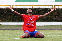 IPIALES-COLOMBIA ,28-09-2019.Kevin Rendón  jugador  del Deportivo Pasto celebra después de anotar un gol al Cúcuta Deportivo durante partido por la fecha 13 de la Liga Águila II 2019 jugado en el estadio Municipal de Ipiales./ Kevin Rendon  player of Deportivo Pasto   celebrates after scoring a goal agaisnt of Cucuta Deportivo during the match for the date 13 of the Aguila League II 2019 played at Municipal stadium in Ipiales city. Photo: VizzorImage/ Leonardo Castro / Contribuidor