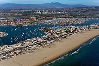 aerial photograph of a busy sailing weekend Newport Harbor, Newport Beach, California