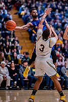 9 February 2019: University at Albany Great Dane Guard Ahmad Clark, a Junior from Bowie, MD, in second-half action against the University of Vermont Catamounts at Patrick Gymnasium in Burlington, Vermont. The Catamounts defeated the Danes 67-49 in their America East matchup. Mandatory Credit: Ed Wolfstein Photo *** RAW (NEF) Image File Available ***