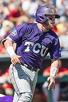 TCU Horned Frogs catcher Evan Skoug (9) rounds first base against the Texas Tech Red Raiders in Game 3 of the NCAA College World Series on June 19, 2016 at TD Ameritrade Park in Omaha, Nebraska. TCU defeated Texas Tech 5-3. (Andrew Woolley/Four Seam Images)