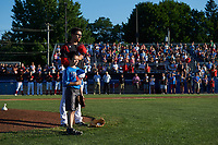 Batavia Muckdogs starting pitcher Alejandro Mateo (37) stands with a young fan during the national anthem before a game against the Auburn Doubledays on July 4, 2017 at Dwyer Stadium in Batavia, New York.  Batavia defeated Auburn 3-2.  (Mike Janes/Four Seam Images)