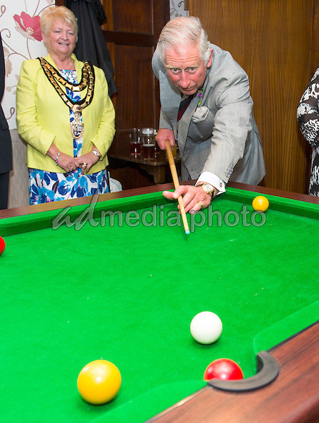 10 July 2015 - Dyfed, Wales - Prince Charles The Prince of Wales visits The Glanyrafon Arms, which is supported by The Prince's Pub is the Hub initiative, and met community groups who meet at the pub, including tractor enthusiasts and haircuts in, Talgarreg, Llandysul, Dyfed, Wales. Photo Credit: Alpha Press/AdMedia