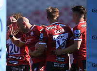 24th April 2021; Kingsholm Stadium, Gloucester, Gloucestershire, England; English Premiership Rugby, Gloucester versus Newcastle Falcons; Willi Heinz of Gloucester celebrates with his team after scoring Gloucester's fifth try to bring the score to 33-24