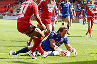 Photo: Richard Lane/Richard Lane Photography. Crusaders v Hull KR. Engage Super League. 09/07/2011. KR's Clinton Newton touches the ball down for a try.