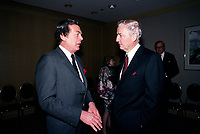 April 1988 File Photo - Edgard Bronfman (L) and Paul Desmarais (R)<br /> <br /> <br /> Desmarais passed away October 2013<br /> <br /> PHOTO :  Agence Quebec Presse