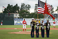 July 3, 2009:  Members of the United States Marine Corp of Batavia present the flag before a Batavia Muckdogs game at Dwyer Stadium in Batavia, NY.  The Muckdogs are the NY-Penn League Short-Season Class-A affiliate of the St. Louis Cardinals.  Photo by:  Mike Janes/Four Seam Images