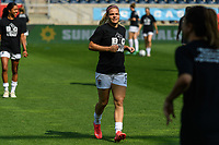 BRIDGEVIEW, IL - JULY 18: Eugenie Le Sommer #9 of the OL Reign warms up before a game between OL Reign and Chicago Red Stars at SeatGeek Stadium on July 18, 2021 in Bridgeview, Illinois.
