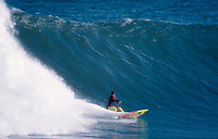 Gary Elkerton (AUS), surfing Mundaka river-mouth during an epic swell in November 1989. Mundaka, Basque Country, Spain. Photo: joliphotos.com