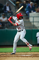 Vancouver Canadians Luis De Los Santos (20) at bat during a Northwest League game against the Tri-City Dust Devils at Gesa Stadium on August 21, 2019 in Pasco, Washington. Vancouver defeated Tri-City 1-0. (Zachary Lucy/Four Seam Images)