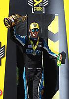 May 21, 2017; Topeka, KS, USA; NHRA pro stock driver Tanner Gray celebrates after winning the Heartland Nationals at Heartland Park Topeka. Mandatory Credit: Mark J. Rebilas-USA TODAY Sports