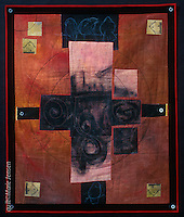 """February""; Contemporary quilt by artist Marie Jensen, using appliqué, a fusible web and hand painted fabrics. 31""x42"""