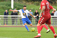 Lyle Della-Verde of Enfield Town shoots wide during Enfield Town vs Worthing, Pitching In Isthmian League Premier Division Football at the Queen Elizabeth II Stadium on 16th October 2021