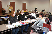 Arlington, Virginia.Small groups of graduate students discuss linguistics concepts in evening course entitled Linguistics for Teachers at University of Virginia (Arlington campus). .This is an education professional development course that can be applied for teacher endorsement credential re-certification in Virginia..©Ellen B. Senisi