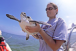 Erin Mcmichael With Green Turtle