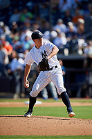 New York Yankees relief pitcher Chad Green (57) delivers a pitch during a Grapefruit League Spring Training game against the Toronto Blue Jays on February 25, 2019 at George M. Steinbrenner Field in Tampa, Florida.  Yankees defeated the Blue Jays 3-0.  (Mike Janes/Four Seam Images)