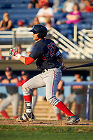 Lowell Spinners catcher Samuel Miranda (20) bats during a game against the Batavia Muckdogs on July 11, 2017 at Dwyer Stadium in Batavia, New York.  Lowell defeated Batavia 5-2.  (Mike Janes/Four Seam Images)