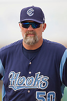 Corpus Christi Hooks pitching coach Doug Brocail (50) before the Texas League baseball game against the San Antonio Missions on May 10, 2015 at Nelson Wolff Stadium in San Antonio, Texas. The Missions defeated the Hooks 6-5. (Andrew Woolley/Four Seam Images)
