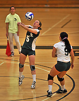 28 October 2012: Old Westbury Panthers Samantha Howley, a Junior from Valley Stream, NY, in action against the Yeshiva University Maccabees at SUNY Old Westbury in Old Westbury, NY. The Panthers defeated the Maccabees 3-0 in NCAA women's volleyball play. Mandatory Credit: Ed Wolfstein Photo