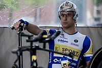 Jonas Rickaert (BEL/Sport Vlaanderen Baloise) awaits his turn to start his TT.<br /> <br /> Binckbank Tour 2018 (UCI World Tour)<br /> Stage 2: ITT Venray (NL) 12.7km