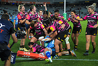 Chiefs captain Stacey Elder scores in the corner during the Super Rugby Women match between the Blues and Chiefs at Eden Park in Auckland, New Zealand on Saturday, 1 May 2021. Photo: Dave Lintott / lintottphoto.co.nz