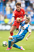 Deportivo de la Coruna's Luisinho Correia (r) and Real Sociedad's Alvaro Odriozola during La Liga match. September 10,2017.  *** Local Caption *** © pixathlon<br /> Contact: +49-40-22 63 02 60 , info@pixathlon.de